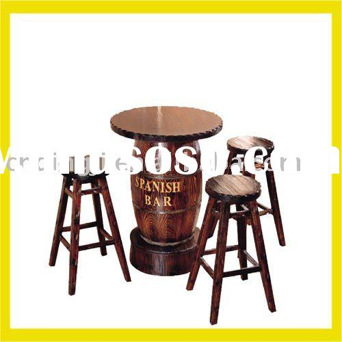SPANISH WOODEN BAR TABLE AND 3 PADDLE CHAIRS