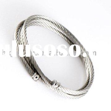 STAINLESS STEEL CABLE ROPE BANGLE BRACELET