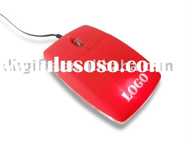 Slim wired mouse with lighting up Logo