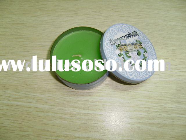 Small round tin box with scented candle inside (KK1019W) Size: Dia. 72 mm x 29 mm