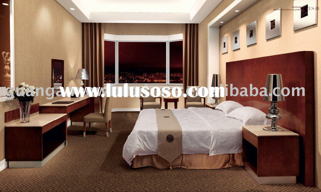 Solid wood marble top hotel bedroom furniture set for sale