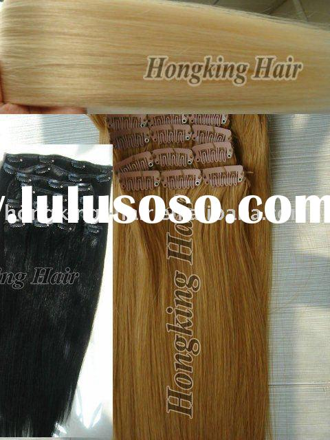 Top quality 100% human remy clip in hair extensions
