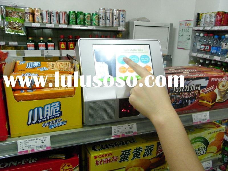 Touch Screen LCD advertising player with bar code reader