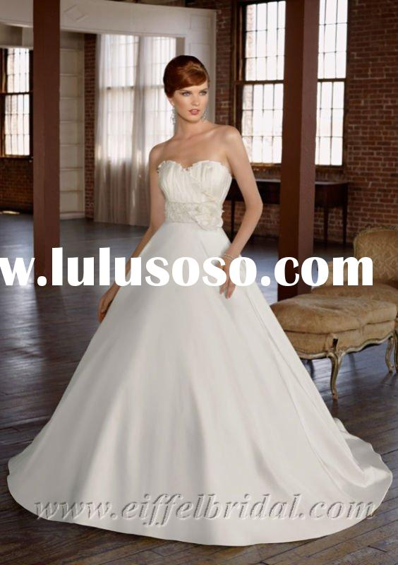 WDS3852 Sweetheart strapless satin beaded A-line princess wedding dress