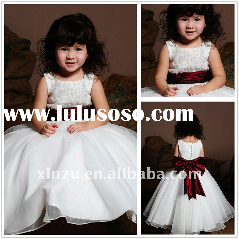 White A-line Princess Style with Red Sash Bowknot Cute Flower Girl Dress--FGD5052