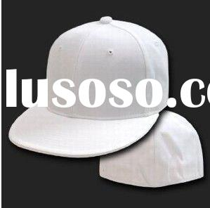 White Size 7 Fitted Flat Bill Baseball Cap Hat