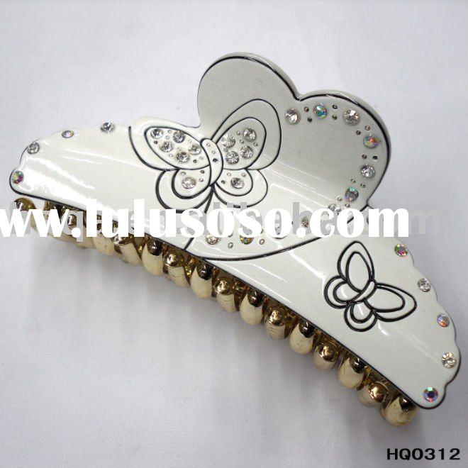 White acrylic hair claw,heart-shaped drawing butterfly,plastic rhinestone hair claw,fashion hair acc