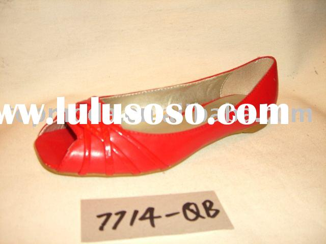 Wholesale red lady flat casual shoes