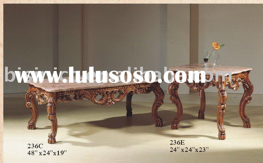 Wooden coffee table with marble top,antique furniture,hand carved coffee table