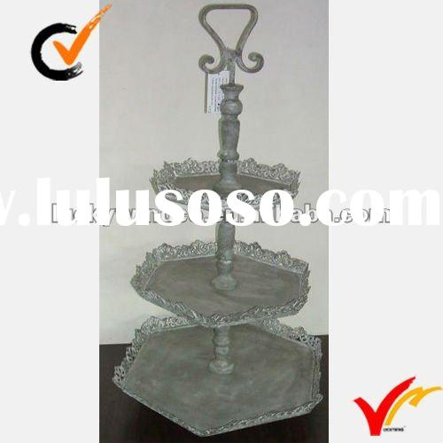 antique 3-tier standing metal cake tray