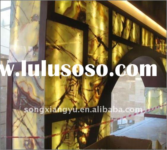 backlit green onyx glass for interior wall decoration