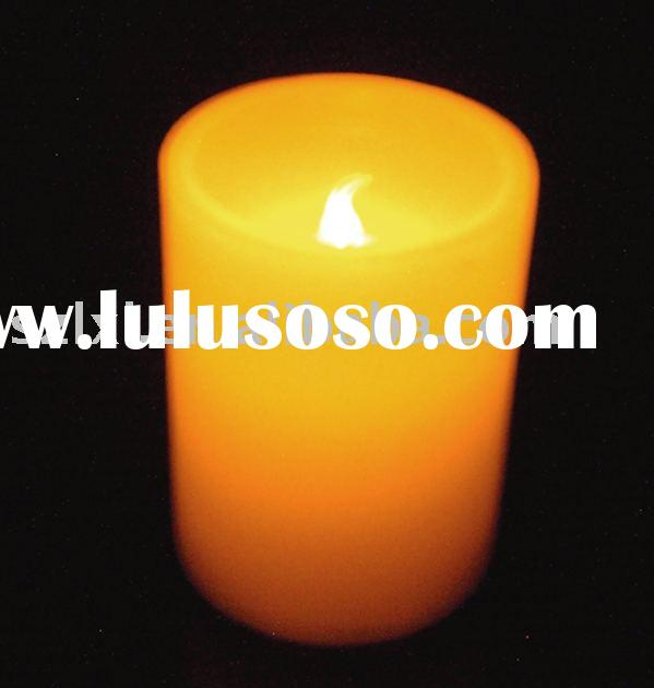battery operated LED candle/Real Wax LED Round Pillar Candle