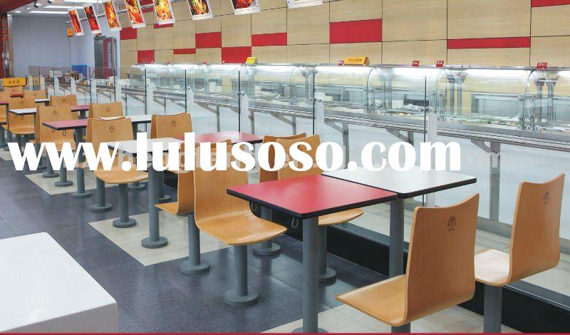 cafeteria fixed wood metal cheap dining bar table chair