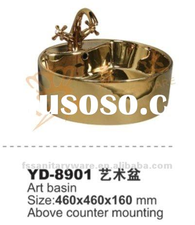 ceramic wash basin and art basin in gold color for hotel