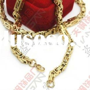classic gold plating byzantine chain necklace-stainless steel necklace