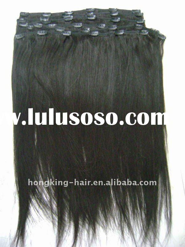 clip-in human hair extensions Yaki straight black remy hair wholesale