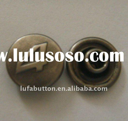 copper plated antique silver color jeans button rivet with LOGO