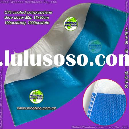 disposable PP+CPE shoe cover with nonskid sole