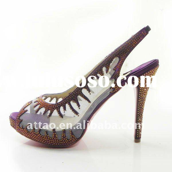 elegant purple crystal heels/dance shoes/wedding shoes
