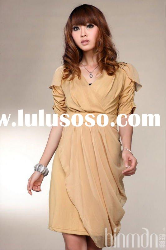 fashion short sleeve dress for young lady