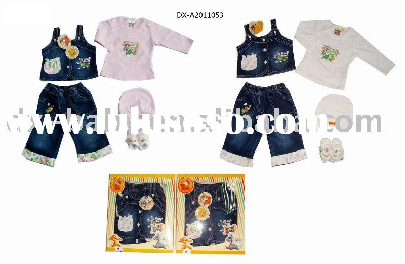 fashion summer denim baby wear baby gift set