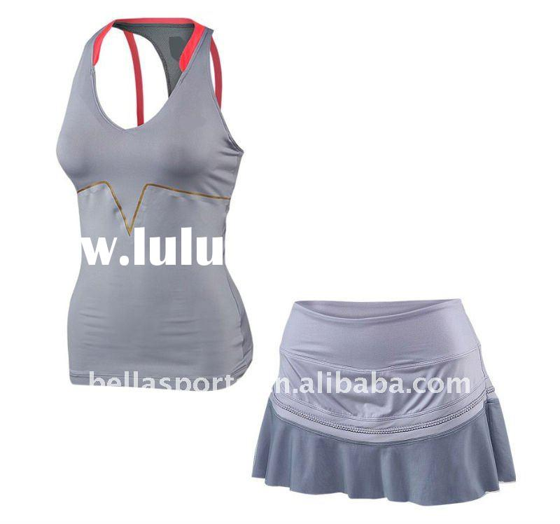 high quality dry fit tennis wear with skirt,polyester/spandex material tennis clothing