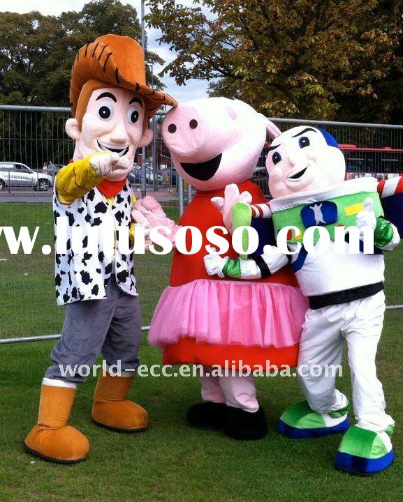 high quality toy story woody and buzz and peppa pig mascot costume, movie cartoon costume