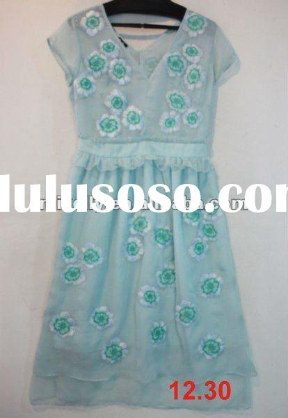 lovely Silk embriodery dress for young ladies 2012
