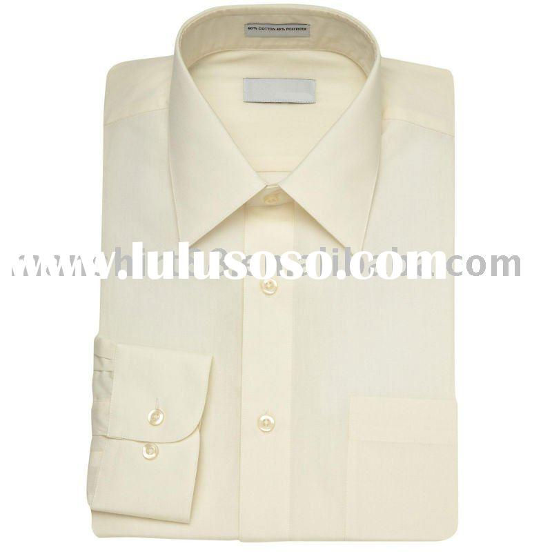 men's ivory T/C dress long sleeve shirts