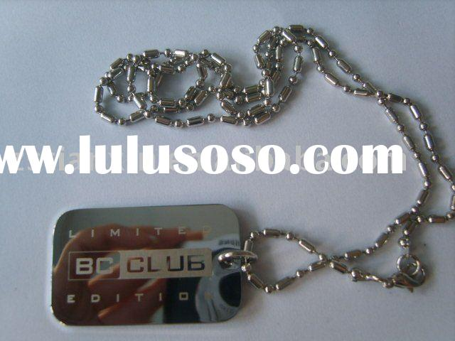 metal engraving dog tag/Luggage tag and chain / Rectangle blank tag with chain
