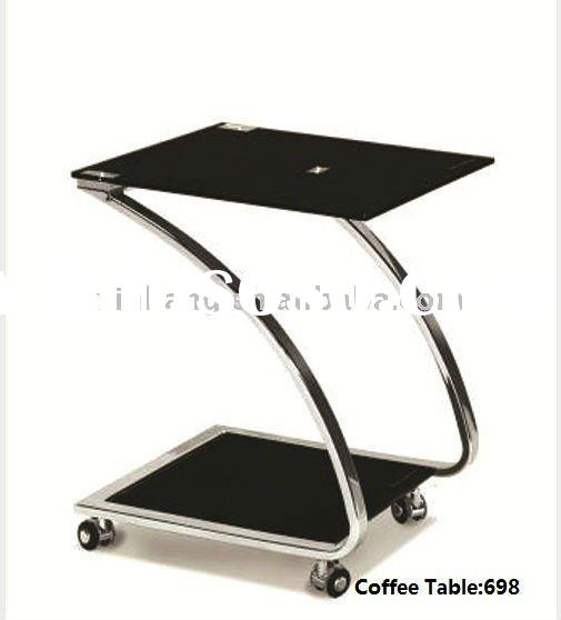modern tempered glass metal center coffee Table