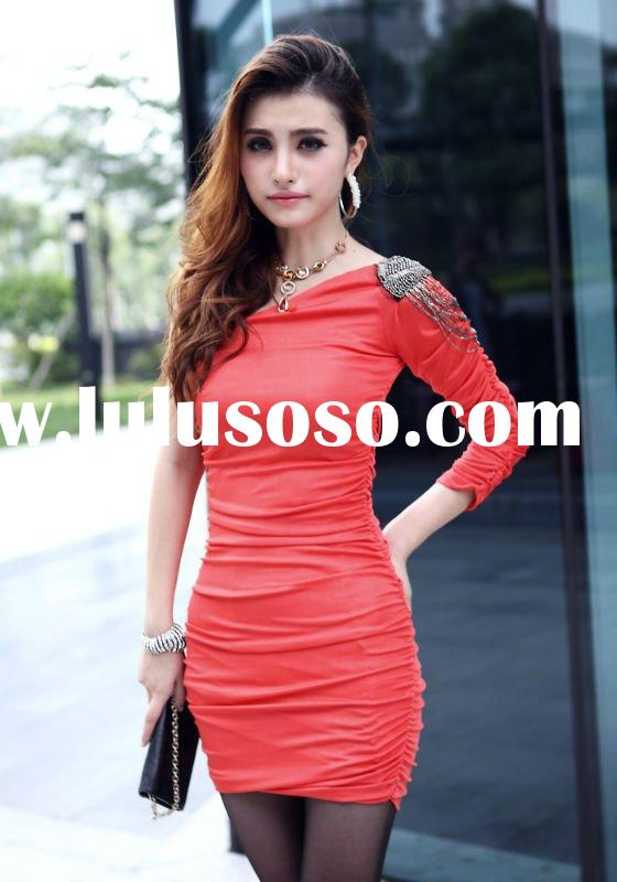 new fashion dresses ladies one shoulder dress