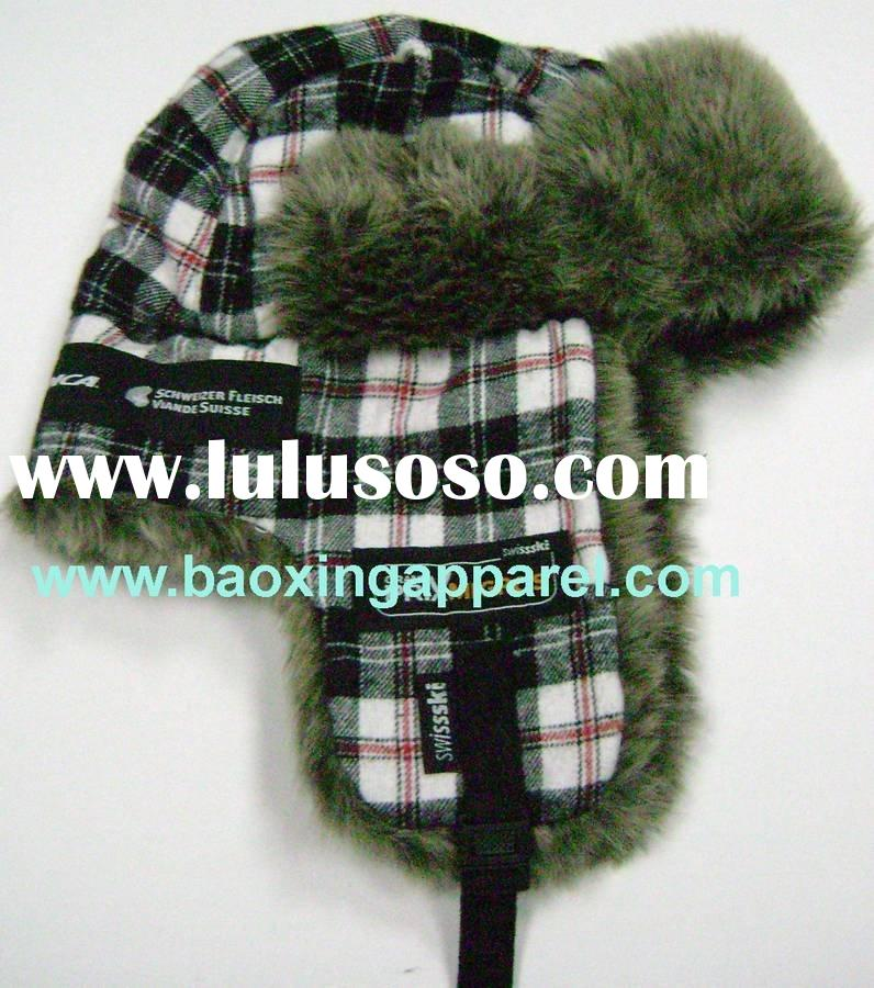 plaid fur cap Ushanka russian trapper bomber hat