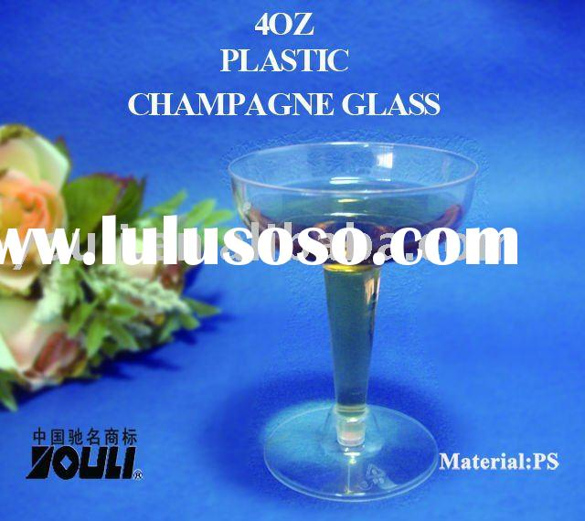 plastic goblet--4 oz Clear Plastic Champagne Glasses Cups - 2PC (premium, heavy weight, disposable,