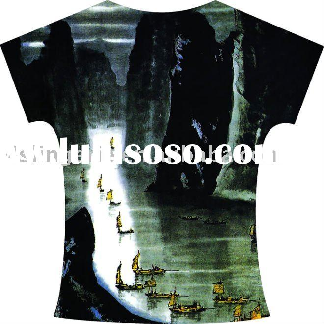 poly/cotton fabric with Heat Transfer Printing t-shirt