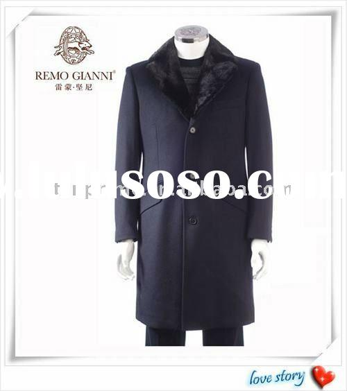 retail and wholesale wool and cashmere REMO GIANNI long style Merinos fur collar coat men (two color