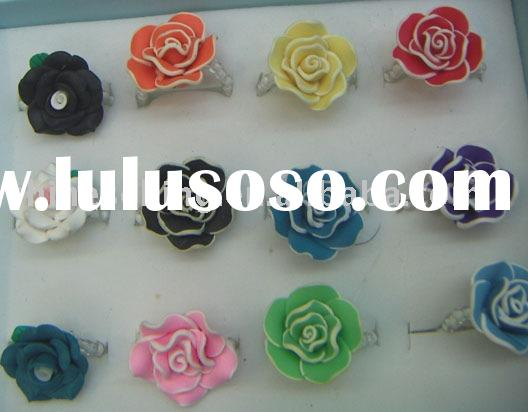 rose rings, fashion rings, flower finger rings,hand-made rings,ceramics jewelry,special jewelry, wom