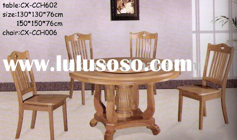 round oak wood dining table and chair