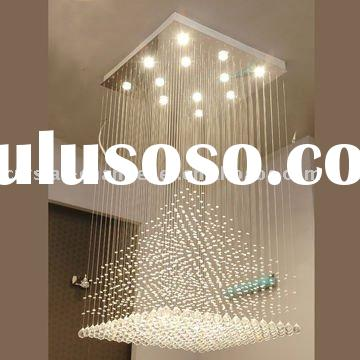 square contemporary crystal ball hanging pendant lamp,modern chandelier crystal lighting,optic fiber