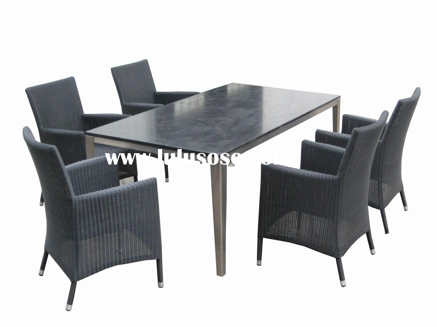 stainless steel frame marble top dining table set