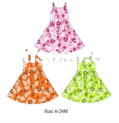 summer full print pajamas for kids knitted dresses