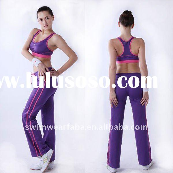 women's high quality yoga wear/sports top bra+drawstring pant