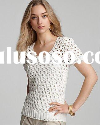 women's spring knitwear scoop neck short sleeve ladies crochet sweater top pullover with rem