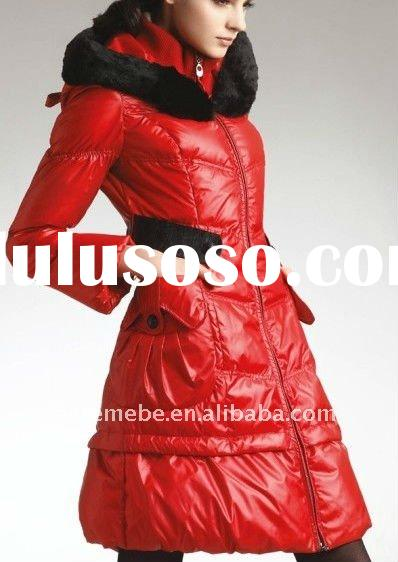 womens fashionable hooded long red down coat with detachable rex rabbit fur terry hood