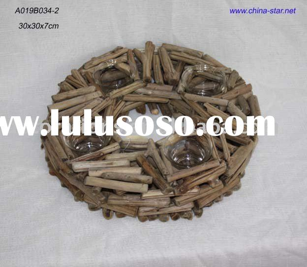 wooden candle holder-round