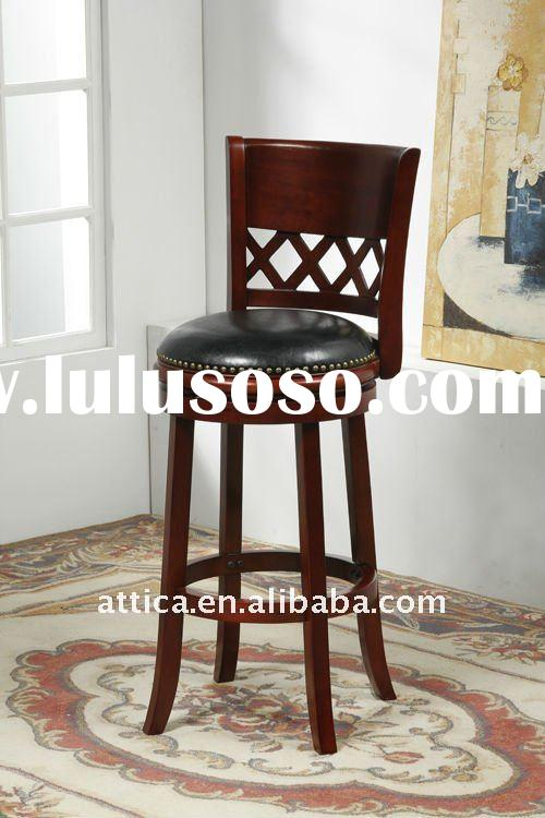wooden leather swivel barstool