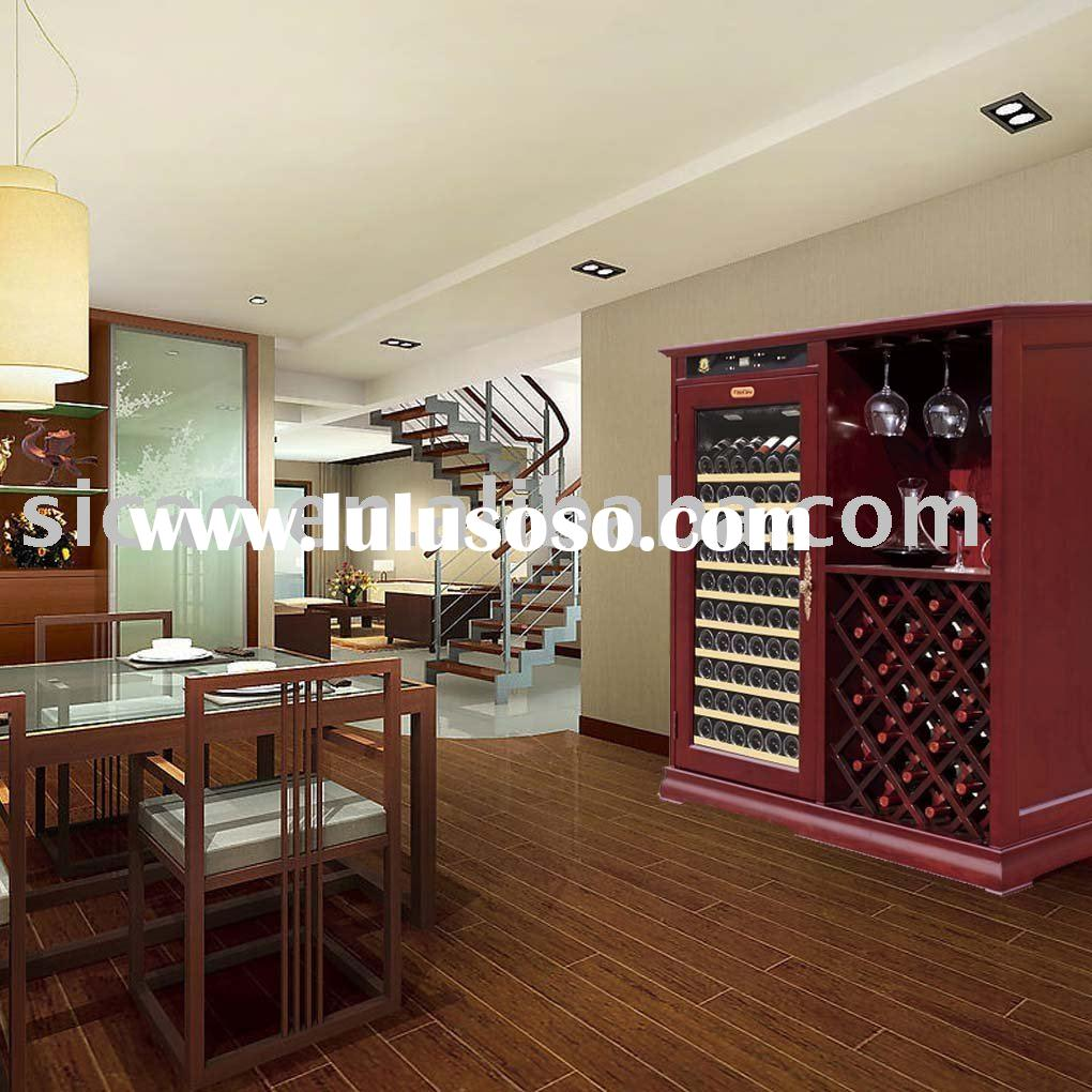 102 Bottles Refrigerated Wooden Wine Showcase Fridge With Humidity Control