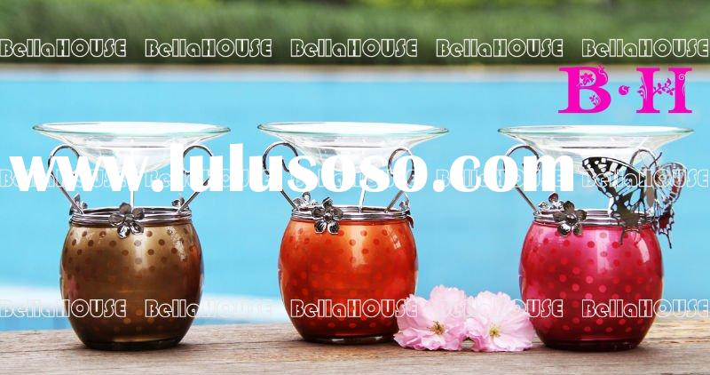 11BH8044,45,46 Dots pattern aroma oil burner with clear glass dish and shiny electroplate metal hold