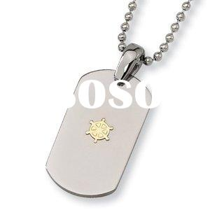 """18K Gold Plated Polished Titanium Dog Tag with 22"""" Bead Chain pendant"""