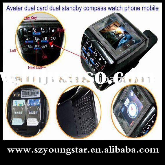 2010 AVATAR dual sim cards watch mobile phone ET-2